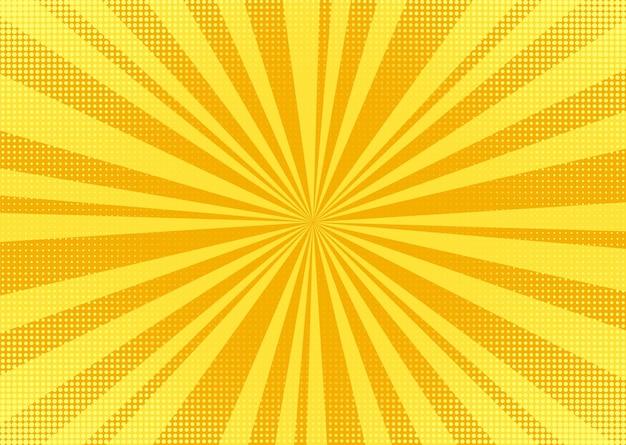 Pop-art-hintergrund. cartoon-textur mit halbton und sonnendurchbruch. vektor-illustration.
