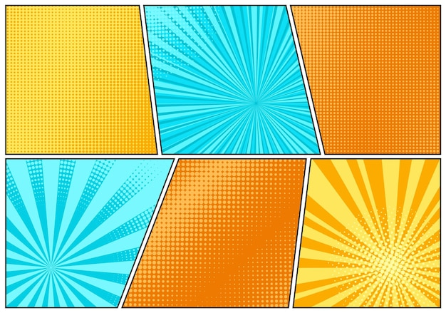 Pop-art-hintergrund. comic-cartoon-textur mit halbton und sonnendurchbruch. starburst-muster festlegen. retro-effekt mit balken und punkten. vintage-sonnenschein-banner. vektor-illustration.