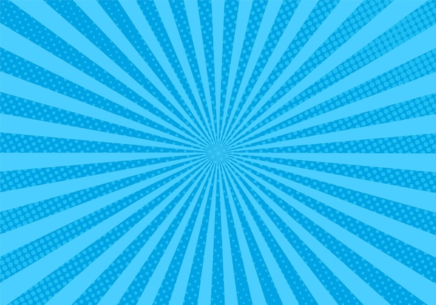 Pop-art-hintergrund. komische halbtonstruktur. blaues starburst-muster mit balken und punkten. vintage-duoton-effekt. retro-sonnenschein-banner. cartoon-superhelden-druck. vektor-illustration.