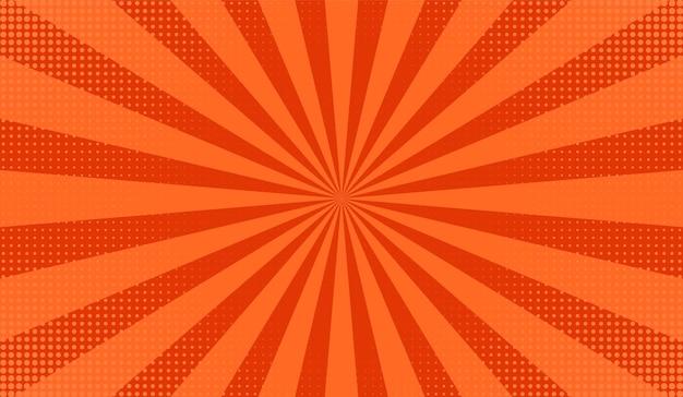 Pop-art-hintergrund. komisches starburst-muster. orangefarbener cartoon-druck mit punkten, balken. vintage sonnenschein textur. halbton-retro-duoton-banner. superhelden-sunburst-print. vektor-illustration.