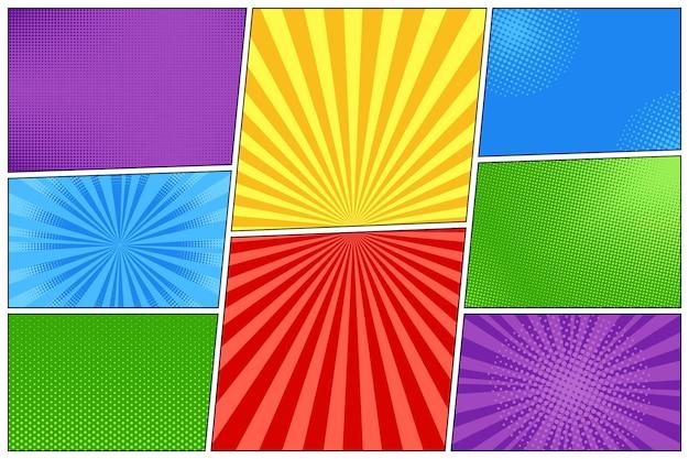 Pop-art-hintergrund. legen sie comic-starburst-muster fest. vektor-illustration.
