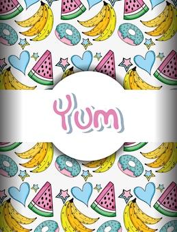Pop-art-hintergrund mit bananen donuts und wassermelonen