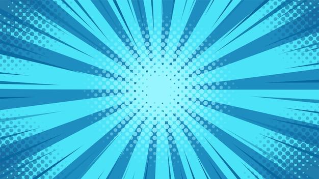Pop-art-hintergrund mit blauem licht, das von der mitte im karikaturstil gestreut wird.