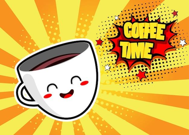Pop-art-hintergrund mit niedlichen kaffee-haferl