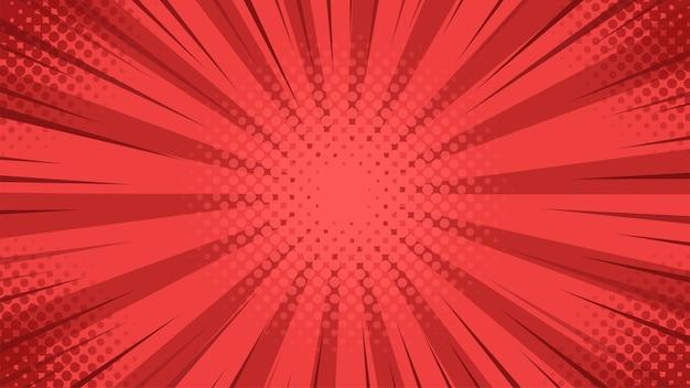 Pop-art-hintergrund mit rotem licht, das von der mitte im karikaturstil gestreut wird.
