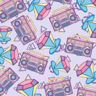 Pop-art-hintergrund-radios und diamanten
