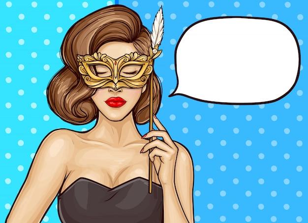 Pop-art hübsche frau mit karnevalsmaske