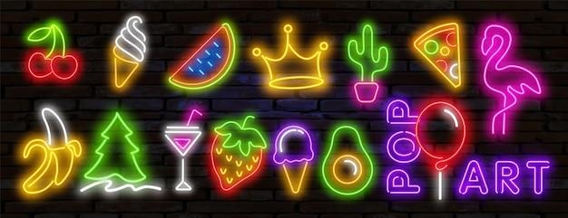 Pop-art-ikonen eingestellt. pop art leuchtreklame. helles schild, helles banner. pop-art-ikonen eingestellt. pop art leuchtreklame. satz neonaufkleber, stifte, aufnäher im neonstil der 80er-90er jahre.