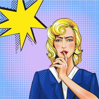 Pop-art-illustration der frau mit dem finger auf die lippen