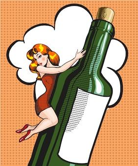 Pop-art-illustration der jungen frau auf einer flasche