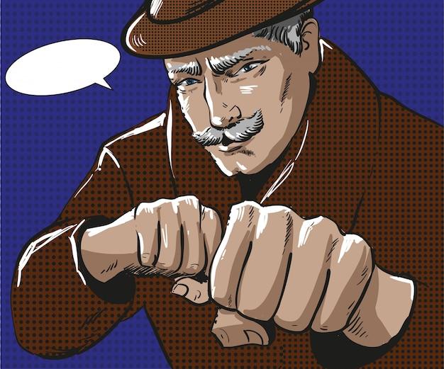 Pop-art-illustration des mannes mit faustschlag