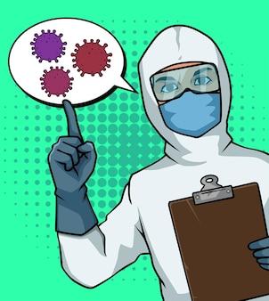 Pop art illustration medizinisches personal spricht über covid