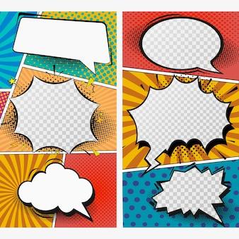 Pop art instagram geschichten vorlage. illustration.