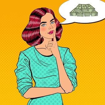 Pop art junge schöne frau, die über geld nachdenkt.