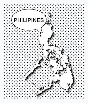 Pop-art-karte der philippinen