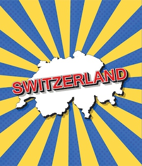 Pop-art-karte der schweiz