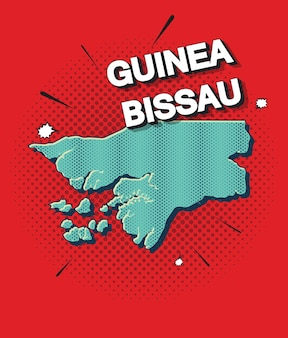 Pop-art-karte von guinea-bissau