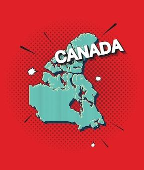 Pop-art-karte von kanada