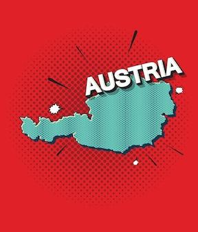 Pop-art-karte von österreich