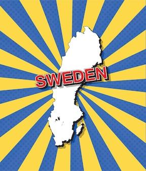 Pop-art-karte von schweden