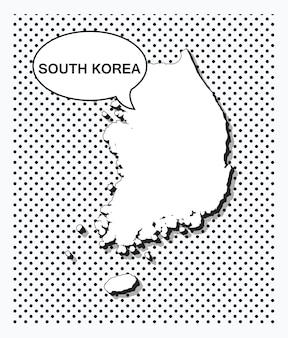 Pop-art-karte von südkorea