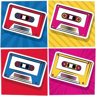 Pop-art-kassetten-cartoon