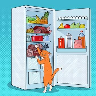 Pop-art-katze stiehlt futter aus dem kühlschrank. hungriges haustier im kühlschrank.