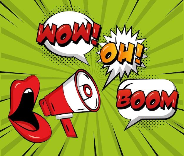 Pop-art komische frau lippen megaphon sprechblasen wow oh und boom