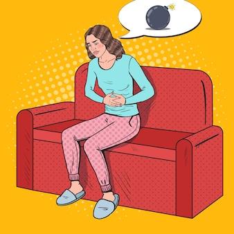 Pop art kranke frau schmerzt von magenschmerzen