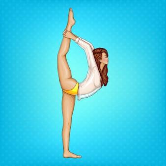 Pop-art-mädchen in transparente bluse und gelben höschen machen gymnastik oder yoga