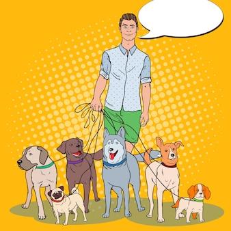 Pop art man dog walker illustration