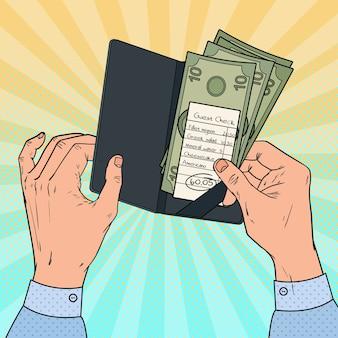 Pop-art-mann, der die rechnung im restaurant bezahlt. gästescheck mit bargeld.