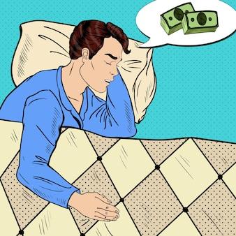 Pop-art-mann, der im bett schläft und über geld träumt. illustration