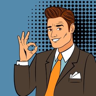 Pop-art-mann, der okayzeichen zeigt