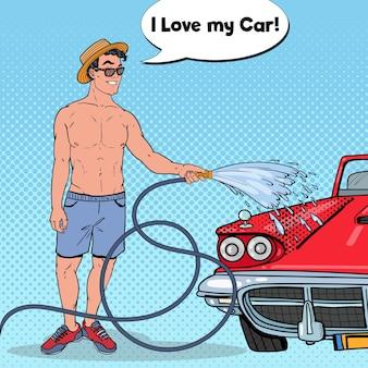 Pop-art-mann, der sein klassisches auto wäscht