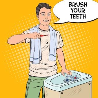 Pop-art-mann, der zähne im badezimmer putzt