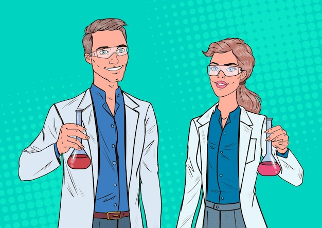 Pop art mann und frau wissenschaftler mit flasche. laborforscher. chemie-pharmakologie-konzept.