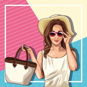 Pop-art-mode und schöne frau cartoon