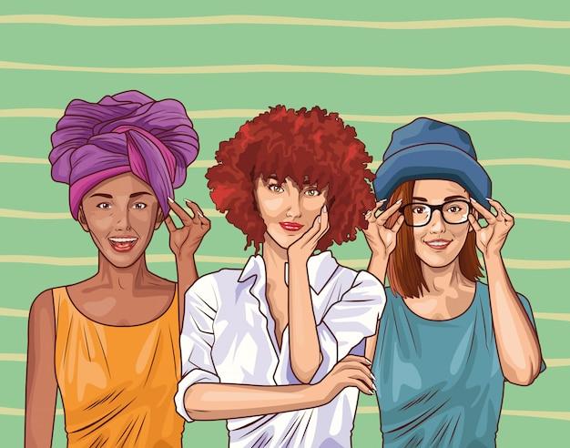 Pop-art-mode und schöne frauen cartoon