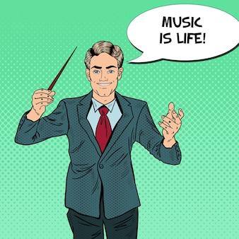 Pop art musik dirigent mann mit einem schlagstock.
