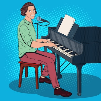 Pop-art-musiker spielt klavier und singt ins mikrofon. männlicher sänger.