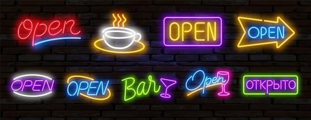 Pop-art-neonlichtzeichen helles schildlichtbanner