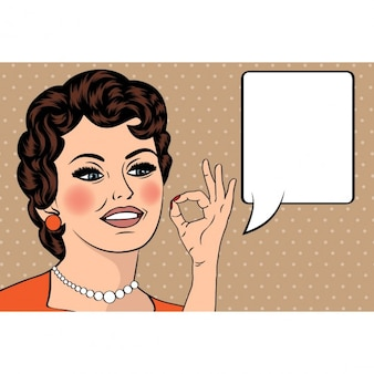 Pop-art-nette retro frau im comic-stil mit ok-zeichen vektor-illustration