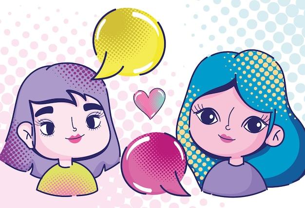 Pop-art niedliche mädchen charaktere sprechblasen und herz halbton stil illustration
