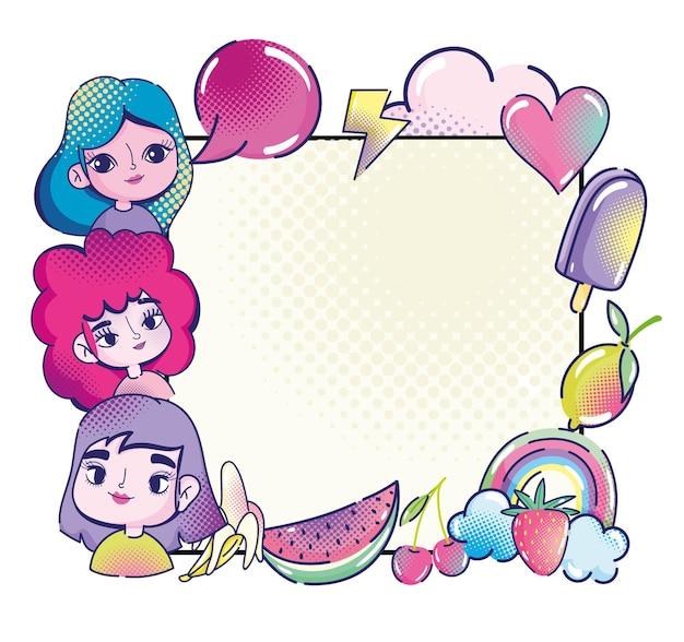 Pop-art niedliche mädchen rede blase herz früchte regenbogeneis, halbton banner illustration
