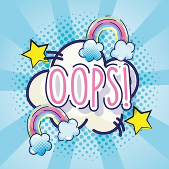 Pop-art oops wortregenbogensterne und wolkenblau-halbtonhintergrundillustration