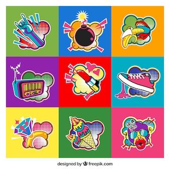 Pop art pack von spaß aufkleber