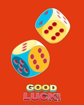 Pop-art-plakat der rollenden glücklichen würfel doppelt sechs 6x6 mit viel glücksbeschriftung Premium Vektoren