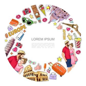 Pop-art-reise-patches runde komposition mit berühmten sehenswürdigkeiten paar kamera tickets brillen tasche eis soda herz krone aufkleber