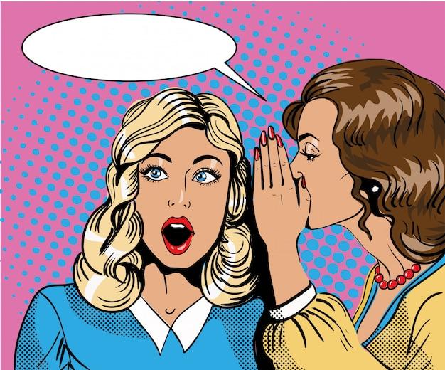 Pop-art retro-comic-illustration. frau, die ihrem freund klatsch oder geheimnis flüstert. sprechblase.